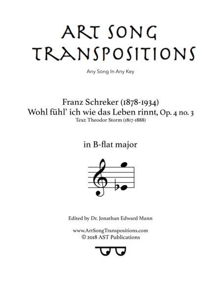 Wohl fühl ich, wie das Leben rinnt, Op. 4 no. 3 (B-flat major)
