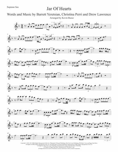 Jar Of Hearts (Original key) Soprano Sax