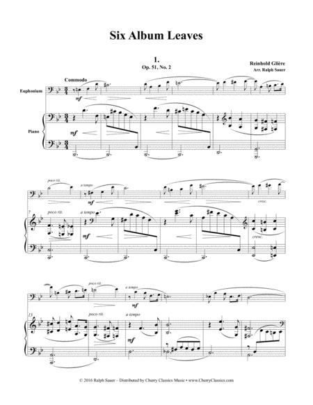 Six Album Leaves from Op. 51 for Euphonium & Piano