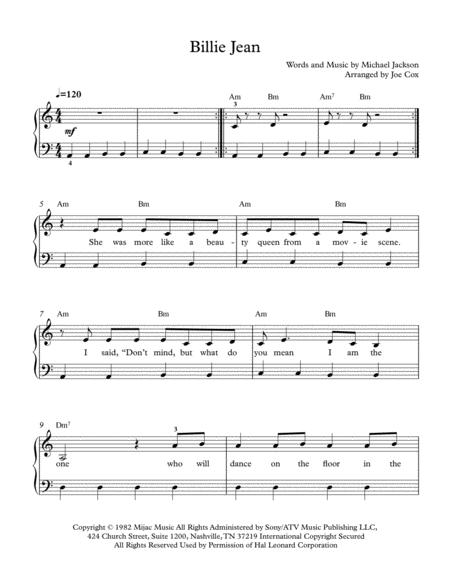 Download Billie Jean Beginner Edition Sheet Music By Michael
