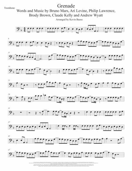 Grenade (Original key) Trombone
