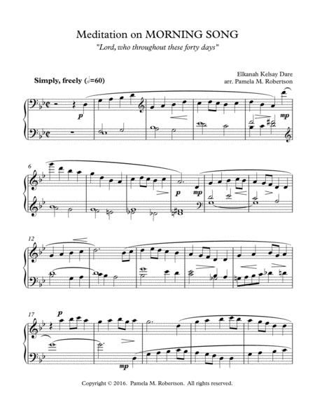 Meditation on Morning Song (Lord, Who Throughout These Forty Days) - Piano Solo