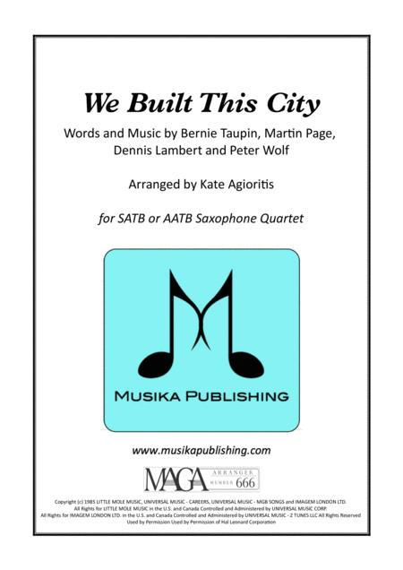 We Built This City (Starship) - Saxophone Quartet