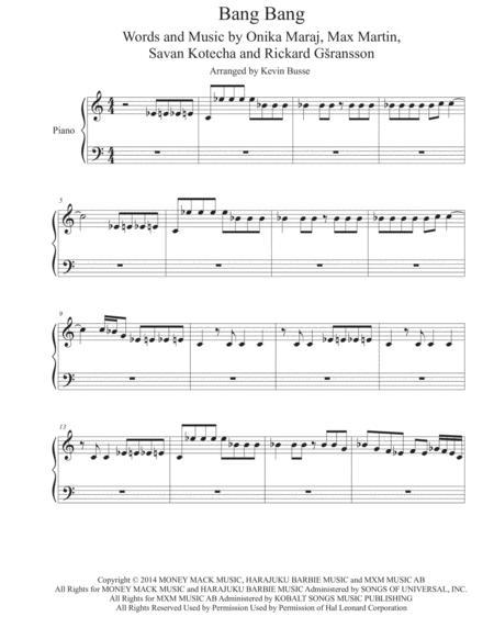 Download Bang Bang Piano Sheet Music By Jessie J Ariana