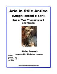 Donaudy Aria in Stile Antico (Luoghi sereni e cari) for One or Two Trumpets and Organ