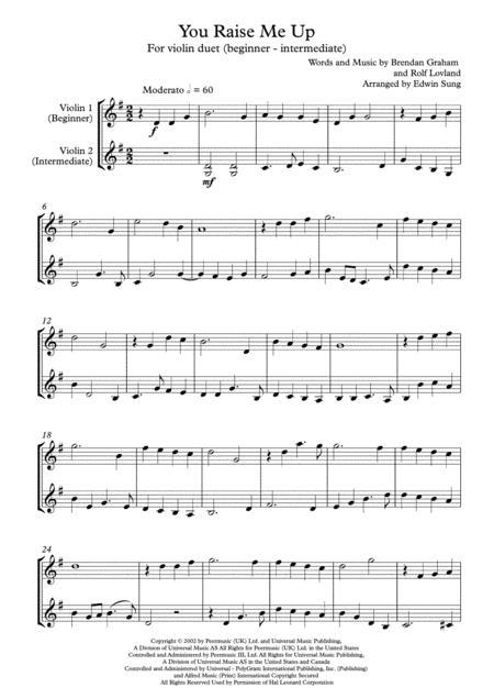 You Raise Me Up - violin duet (grades 2-5, w/ part scores)