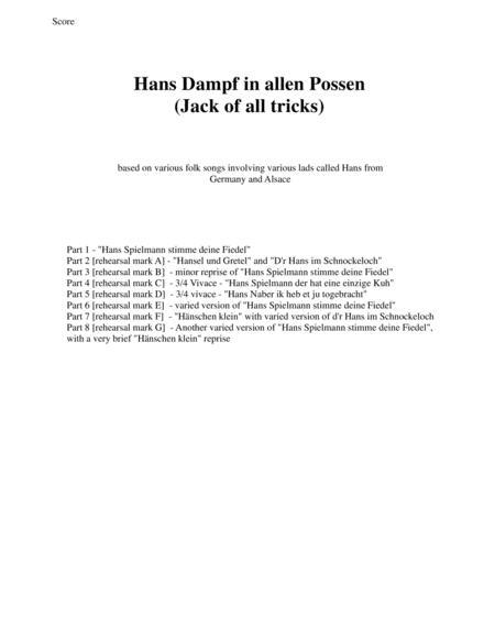 Hans Dampf in allen Possen (Jack of all tricks) for wind trio (oboe, clarinet, bassoon)