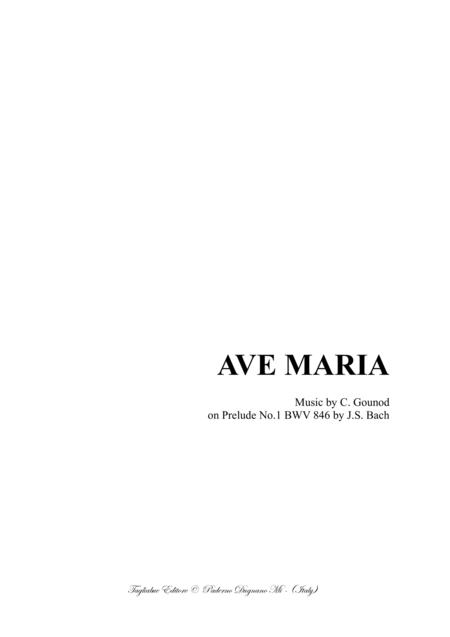 AVE MARIA - Bach-Gounod - For Alto, or Bariton and Piano