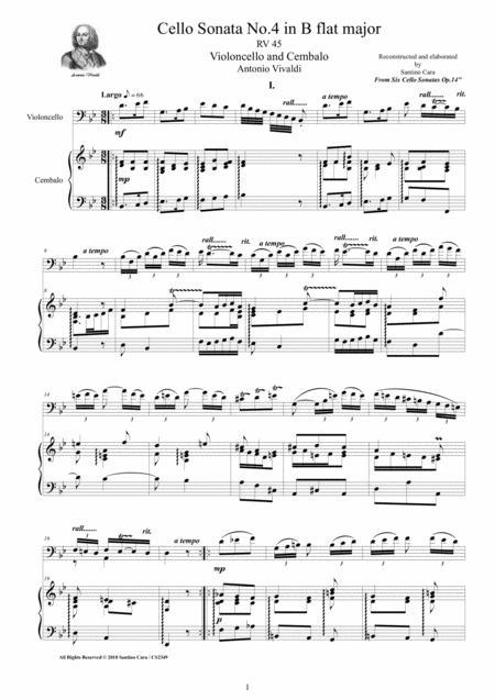 Vivaldi - Cello Sonata No.4 in B flat Op.14 RV 45 for Cello and Cembalo (or Piano)