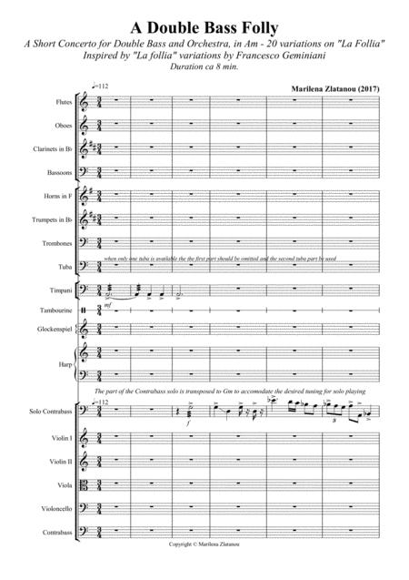 A DOUBLE BASS FOLLY, A Short Concerto for Double Bass and Orchestra