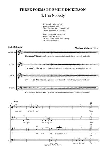 THREE POEMS BY EMILY DICKINSON, for SATB choir a cappella
