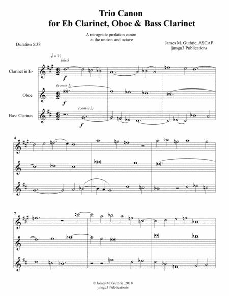 Guthrie: Trio Canon for Eb Clarinet, Oboe & Bass Clarinet
