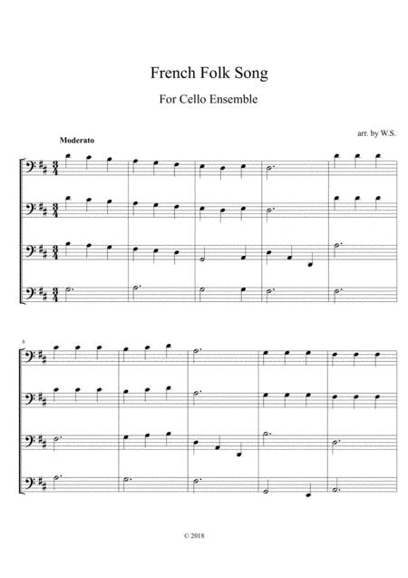 French Folk Song for 4 cellos-Easy