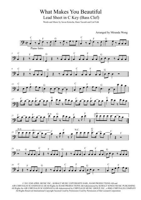 Download What Makes You Beautiful Trombone Or Bassoon Solo Sheet