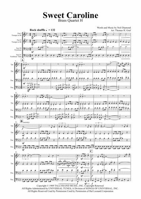Sweet Caroline - Neil Diamond Classic - Brass Quartet H