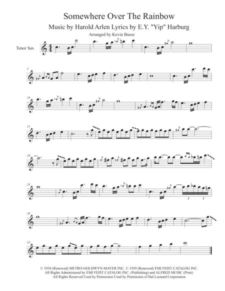 Download Somewhere Over The Rainbow - Tenor Sax Solo Sheet Music By