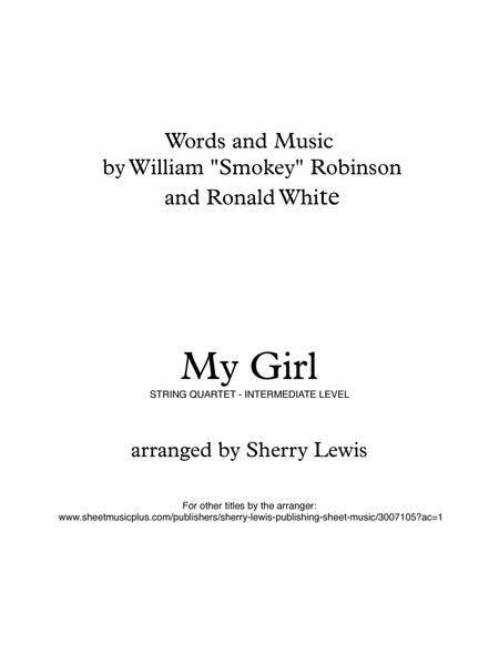 My Girl for String Quartet, String Trio, String Duo, Solo Violin, String Quartet + string bass chord chart, arranged by Sherry Lewis