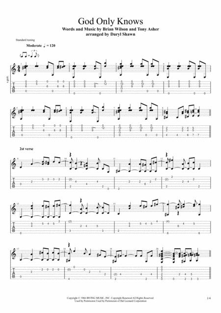 God Only Knows for solo fingerstyle guitar
