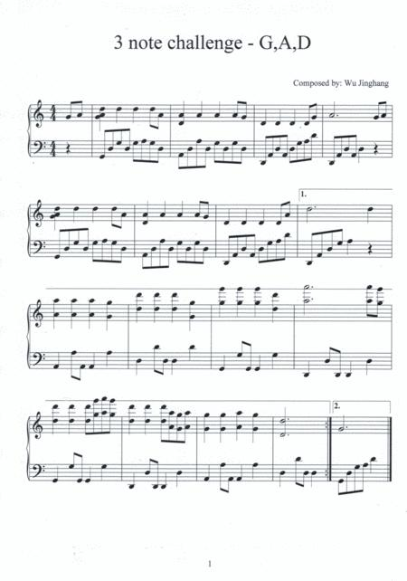 3 note challenge - G, A, D