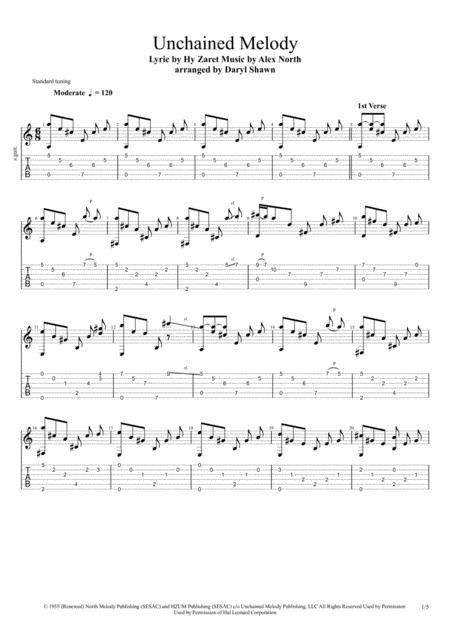 Unchained Melody, for solo fingerstyle guitar