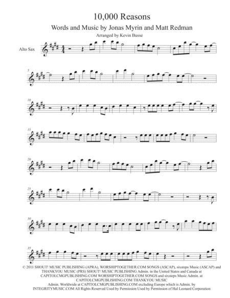 Download 10,000 Reasons (Original Key) - Alto Sax Sheet Music By ...