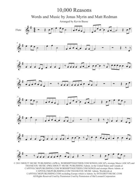 10,000 Reasons (Original key) - Flute