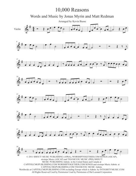 Download 10,000 Reasons (Original Key) - Violin Sheet Music By Matt ...