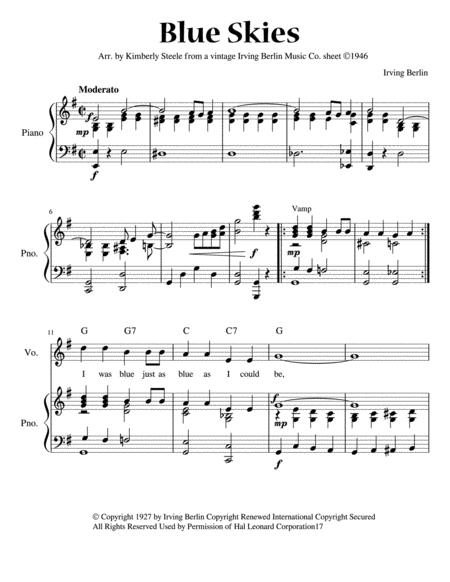 Blue Skies for Early Intermediate Piano: Vintage Irving Berlin Music Company Arrangement