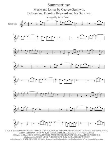 Summertime - Tenor Sax