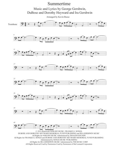 Download Summertime - Trombone Sheet Music By George