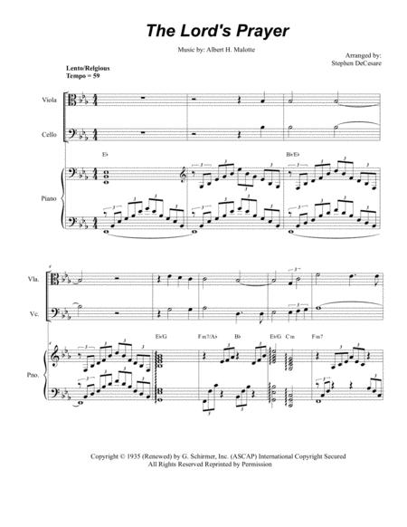 The Lord's Prayer (for String Quartet - Piano Accompaniment)