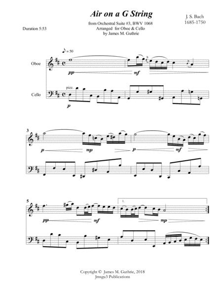 Download Bach: Air On A G String For Oboe & Cello Sheet