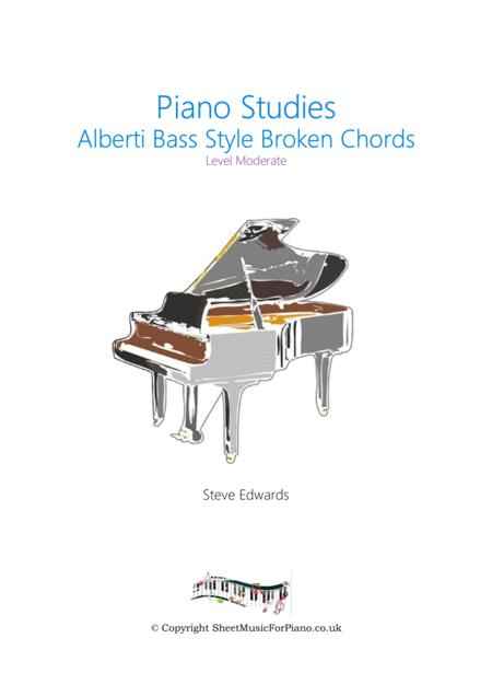 Alberti Bass Style Broken Chords Study - Moderate Piano