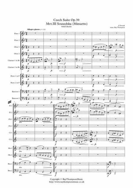 Dvorak: Czech Suite Op.39  Mvt.III Sousedska (Minuetto) - wind dectet