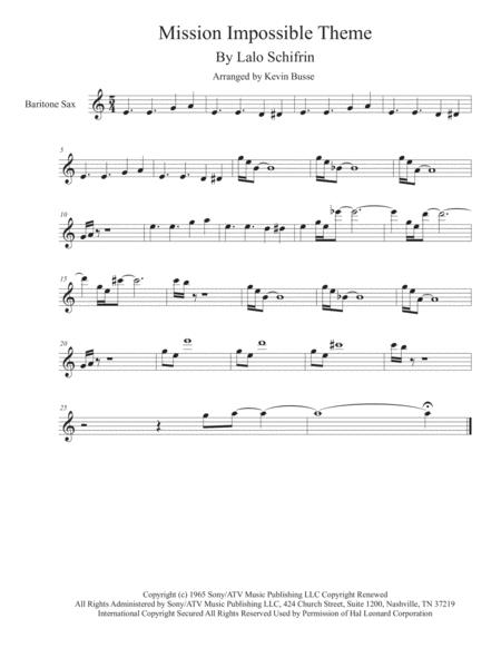 Mission: Impossible Theme  from the Paramount Television Series MISSION: IMPOSSIBLE - Bari Sax