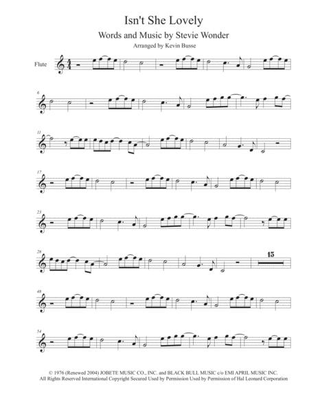 Download Isnt She Lovely Flute Sheet Music By Stevie Wonder