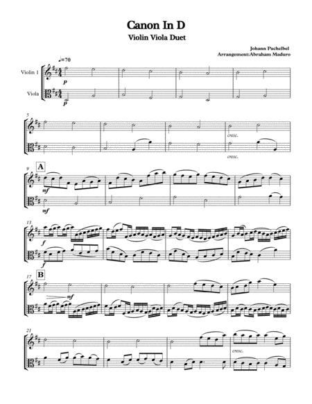 Pachelbel's Canon In D Violin Viola Duet