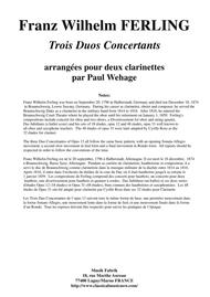 Franz Wilhelm Ferling: 3 Duos Concertants Op. 13, arranged for two clarinets by Paul Wehage