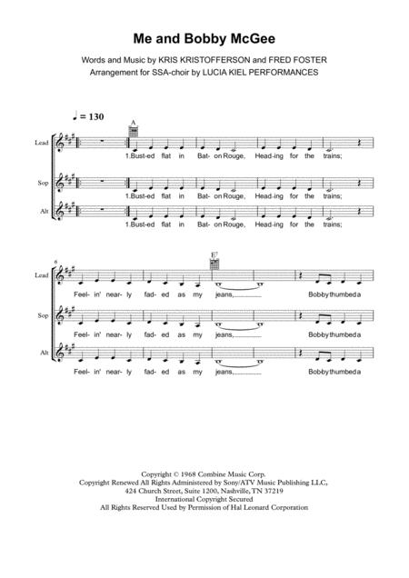 Download Me And Bobby McGee (for Choir / SSA) Sheet Music By Janis ...