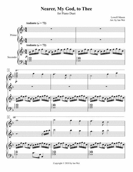 Nearer, My God, to Thee for Piano Duet
