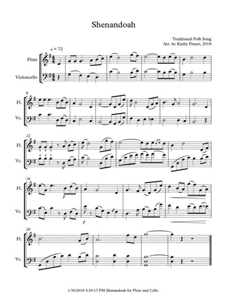 Shenandoah for Flute and Cello Duet