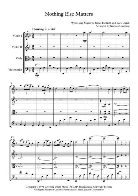 Nothing Else Matters for String Quartet