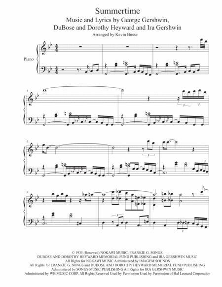 Summertime - Exact Piano Transcription