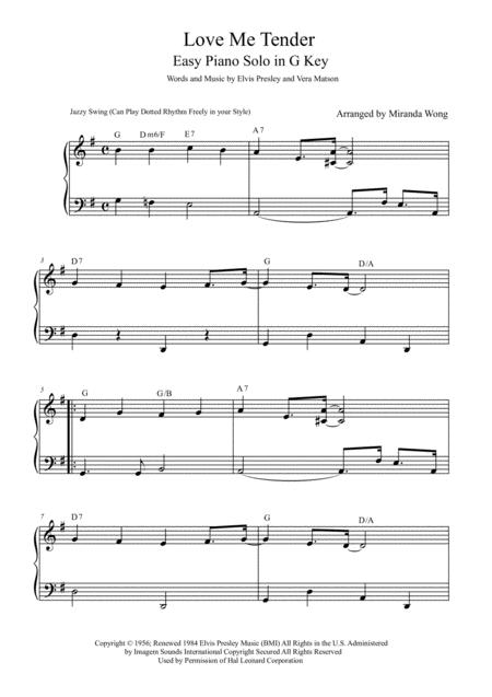 Download Love Me Tender - Easy Jazz Piano Solo In G Key (With Chords ...