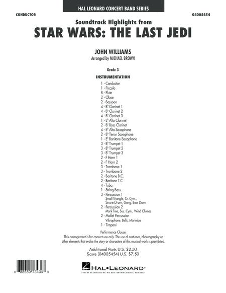 Soundtrack Highlights from Star Wars: The Last Jedi - Conductor Score (Full Score)