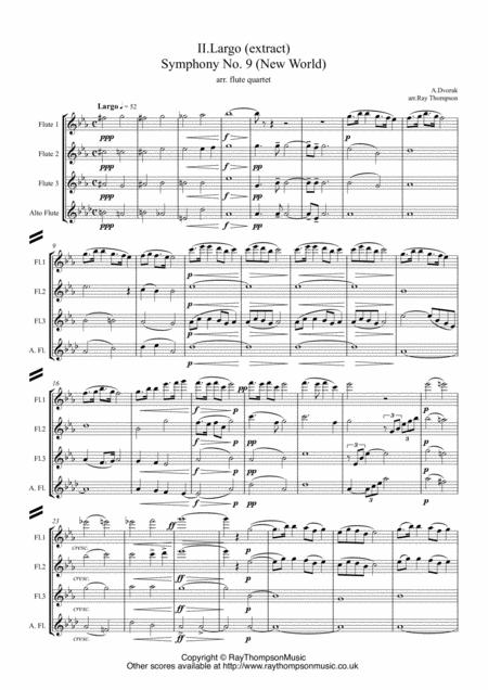 Dvorak: Mvt.II Largo (extract) from Symphony No.9 (New World) Op.95 - flute quartet
