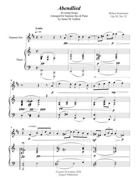 Schumann: Abendlied for Soprano Sax & Piano