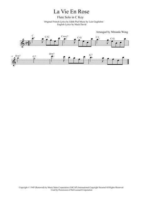 Download La Vie En Rose - Flute Or Oboe Solo In C Key (With Chords ...