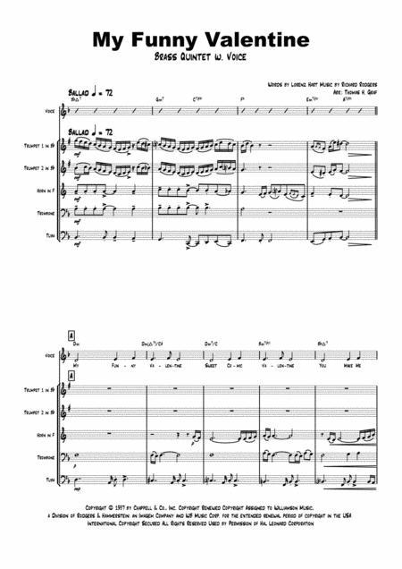 My Funny Valentine - Jazz Ballad - Brass Quintet + Voice - Arr. Thomas H. Graf