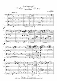 Dvorak: Mvt.II Largo (extract) from Symphony No.9 (New World) Op.95 - string quartet